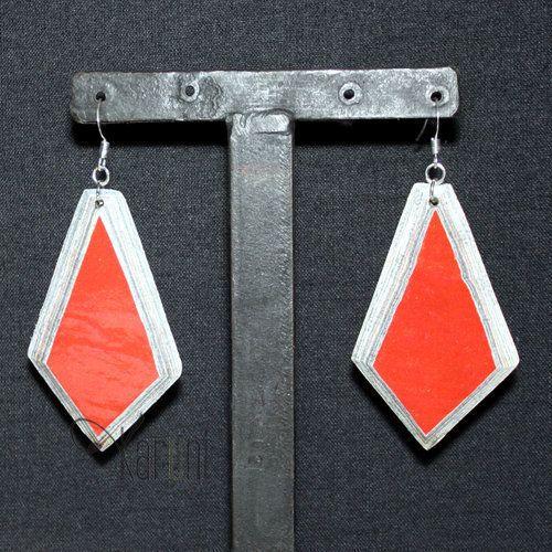 Bijoux Ethniques Boucles d'Oreilles Tendance Ethnique Design Diamant Mahatsara Rouge Quazi Design