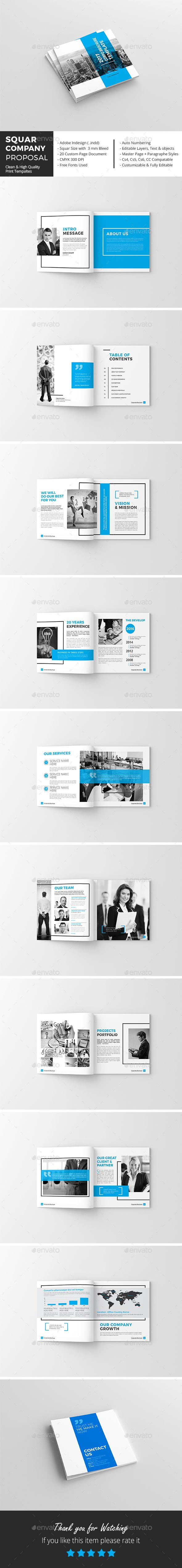 Squar Company #Proposal Template - Corporate #Brochures Download here: https://graphicriver.net/item/squar-company-proposal-template/19576719?ref=alena994