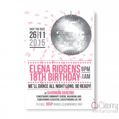 Funky Disco Ball Themed Single Sided Personalised Birthday Invitations - From as little as £0.41 per card - Including free envelopes and delivery on all orders!