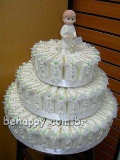 Sugestão de bolo de caixinhas para primeira comunhão - Clique pra ver a caixinha