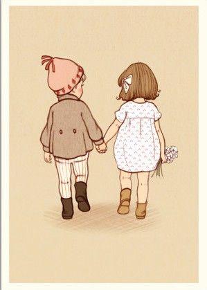 Belle & Boo postcard - Together