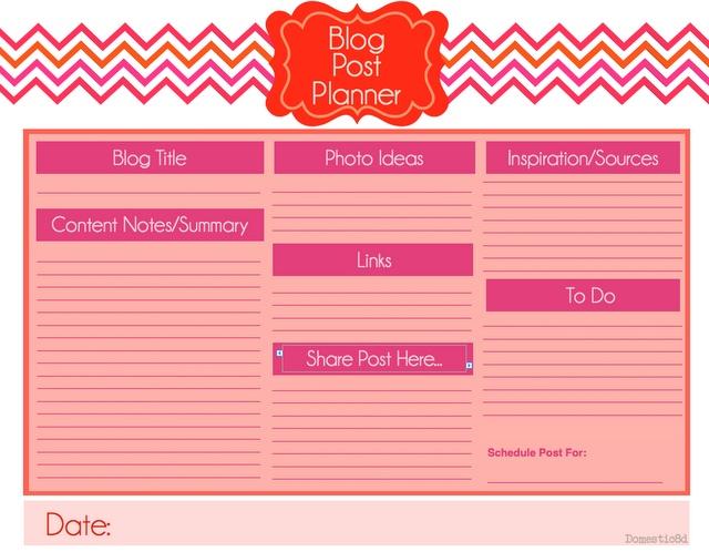 blog post planner template domestic8d pinterest. Black Bedroom Furniture Sets. Home Design Ideas