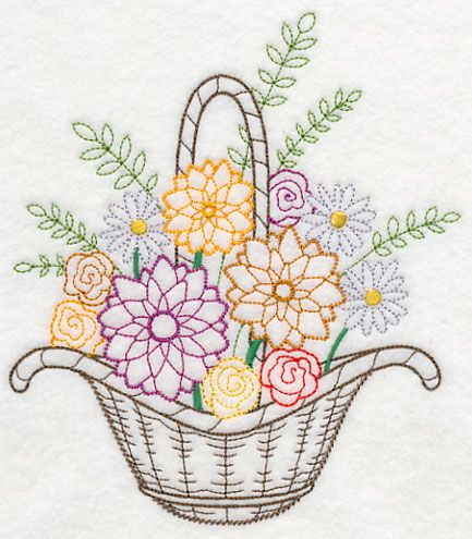 Blooming August Basket (Vintage) design (K7813) from www.Emblibrary.com