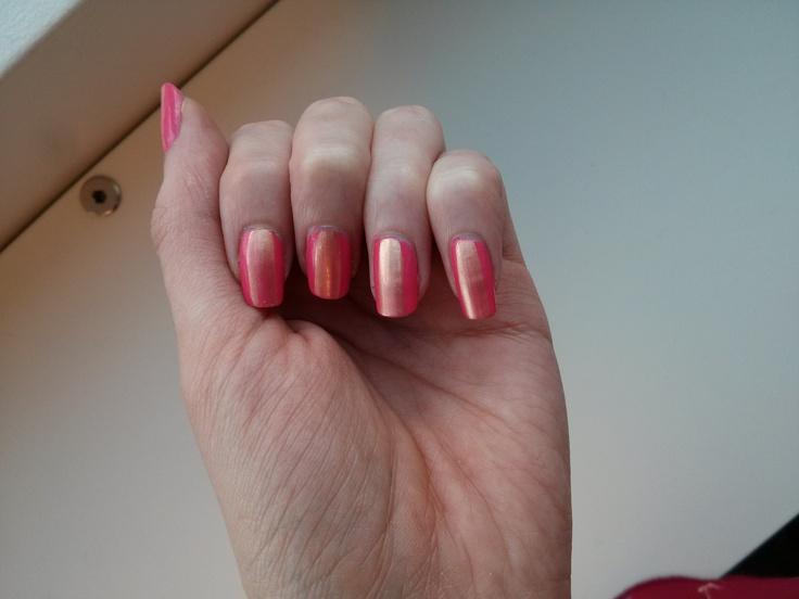 Sally Hansen Complete Salon Manicure in Shrimply Devine + stripe of Joe Fresh Sun Kissed.