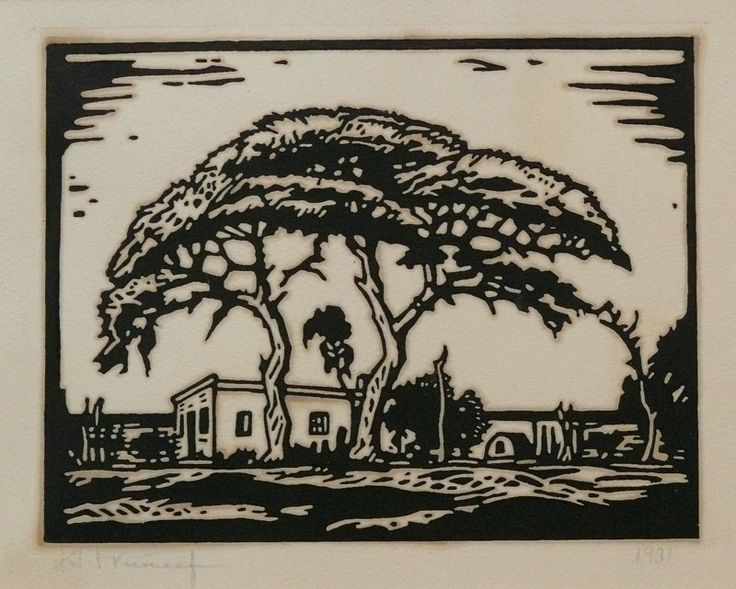 JH Pierneef|, Linocut, 180 x 230 mm, Acacia trees
