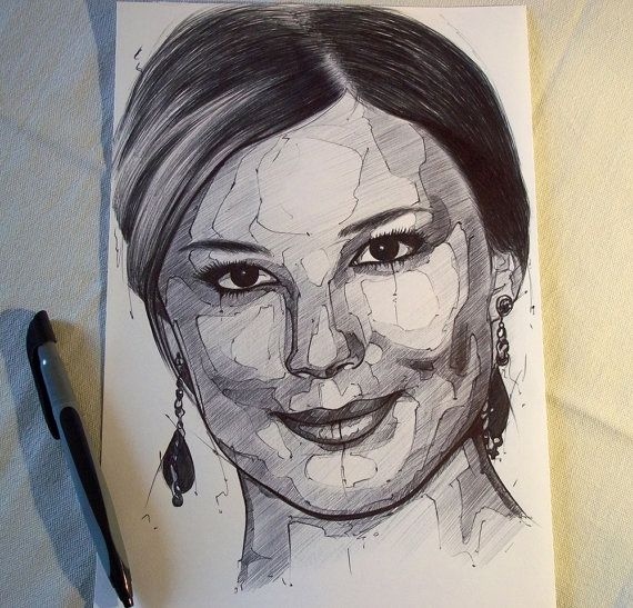 Emily Van Camp ORIGINAL portrait drawing made di MyArtOnCanvas