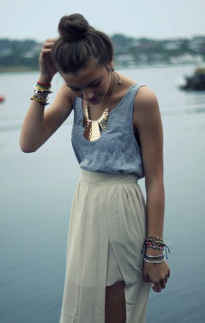 Fashion, Statement Necklaces, Summer Outfit, Style, Dresses, Long Skirts, Gold Necklaces, Tanks, Maxis Skirts
