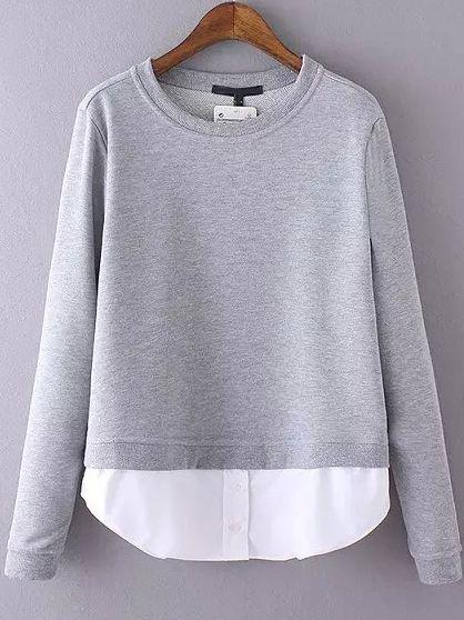 Grey Round Neck Contrast Hem Sweatshirt