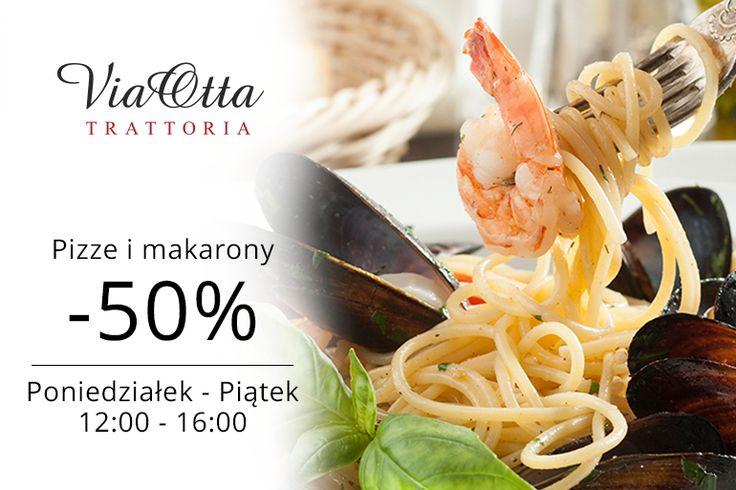 Codziennie od poniedziałku do piątku, od 12.00 do 16.00 makarony i pizze ze zniżką -50% Słoneczne smaki na przekór zimie :) www.viaotta.pl