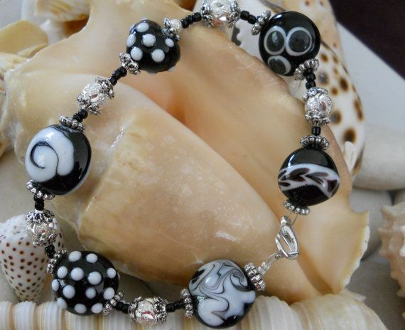 Black & White Glass Bead Bracelet by JewelleryByJody on Etsy, $29.00
