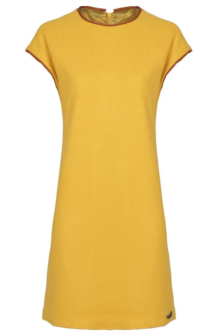 Vestido recto de lana de amarillolimon