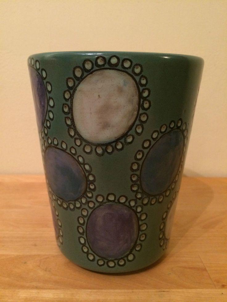 Kupittaan Savi Finland Vintage Art Pottery Vase Mid Century Modern Hand Painted   eBay