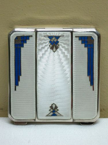 Stunning Antique 1920-30's Sterling Silver Enamel Guilloche Art Deco Compact. @designerwallace
