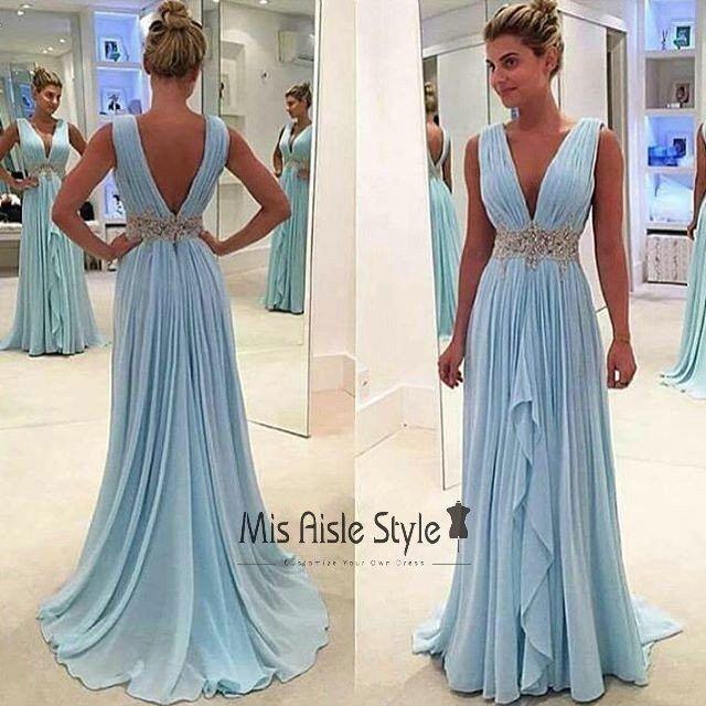 Full length A-line V-neckline Blue Prom Dresses