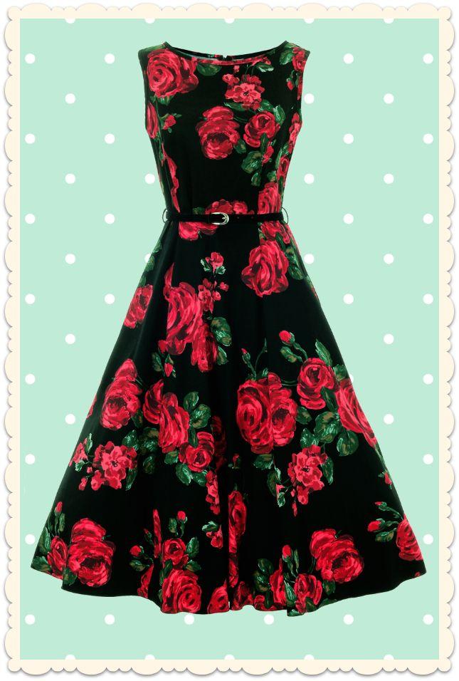 Robe rétro pin-up à fleurs Hepburn roses rouge noir - Toutes les robes/Robes évasées - Lady Vintage - missretrochic.com