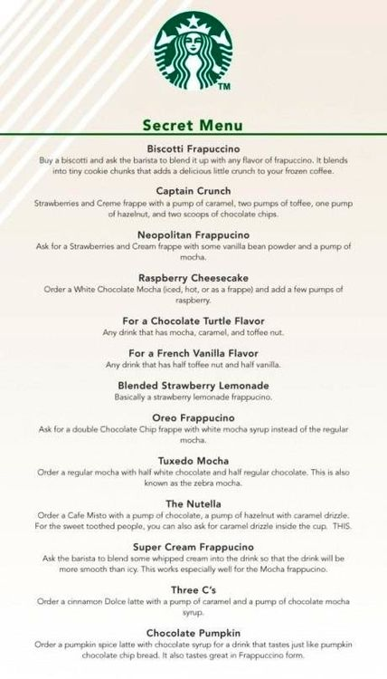 starbucks secret menu | Tumblr