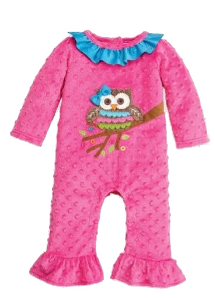 """Mud Pie """"Owl Ruffle One Piece"""" - $32.00 w/FREE SHIPPING - How adorable is this #Mud-Pie outfit from their Fall line? This #dot-minky one piece features an #owl applique, pom pom trim, and grosgrain bum ruffles. Available sizes: 6-9M, 9-12M"""