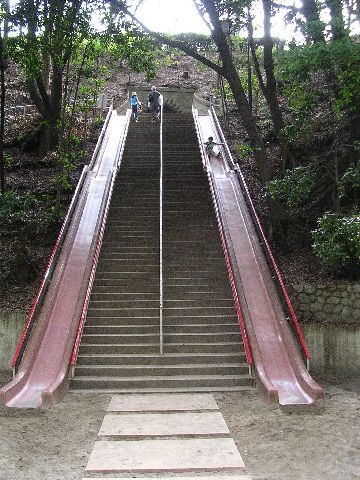 It would be fun to work out there. Run the stairs then slide down. Count how many times you can do it in 5 minutes, then race yourself!