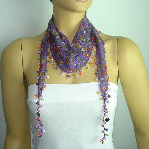 Purple Beaded Scarf Necklace with Red Flowers by istanbuloya