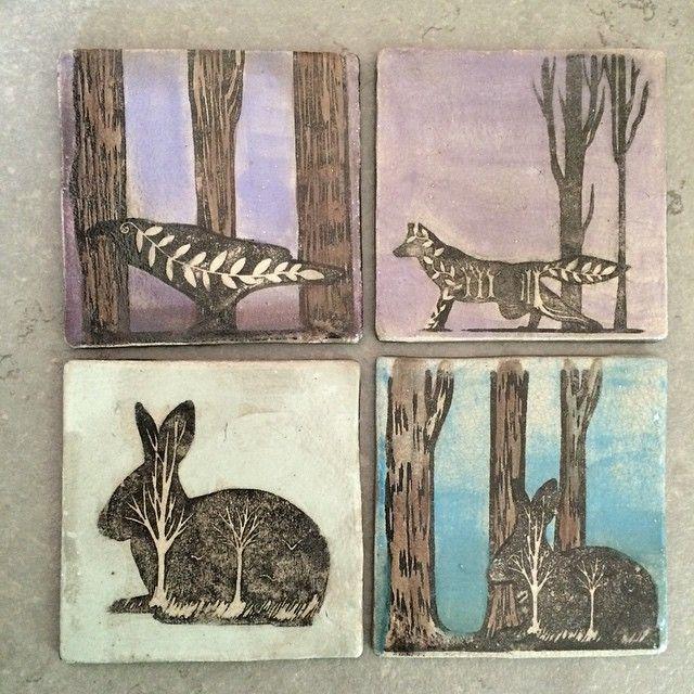 Handmade screenprinted raku tiles