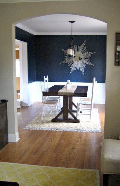 Love the navy with the white, but I'd change the table, rug, and chairs.  I think the height of the beadboard is intriguing.