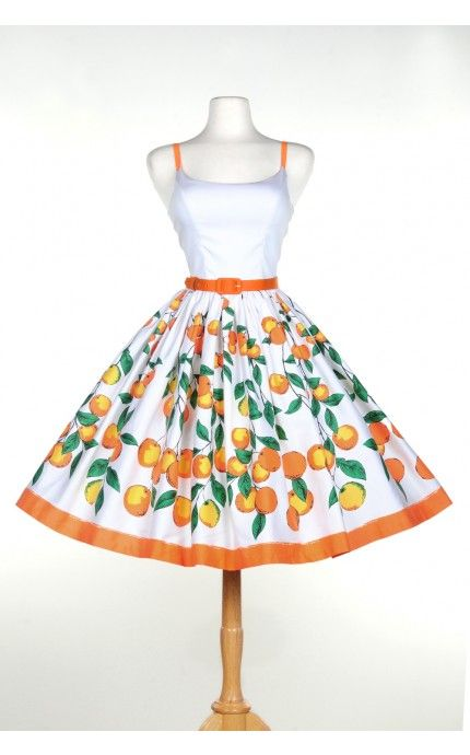 Pinup Couture- Jenny Dress in Orange Border Print - Plus Size | Pinup Girl Clothing
