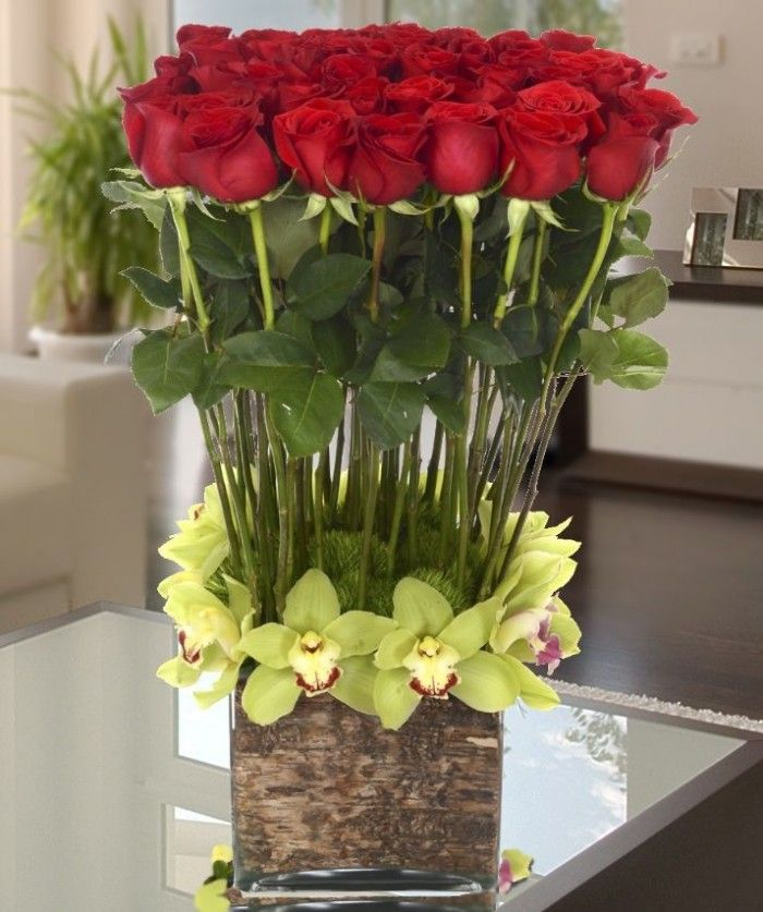 Decorations,Lovely Floral Arrangements Ideas With Red Roses And Green Orchid Complete With Unique Vase Cover Tree Bark,Lovely Floral Arrangements Ideas