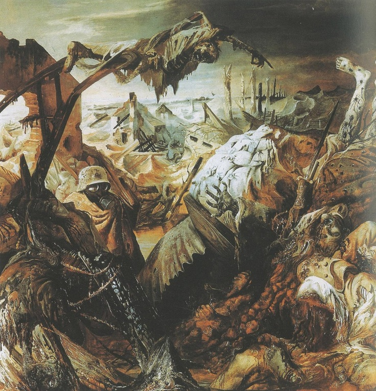 Otto Dix ,detail from his War Triptych {center panel} ''Trench Warfare'' {ca.1926 -1932}