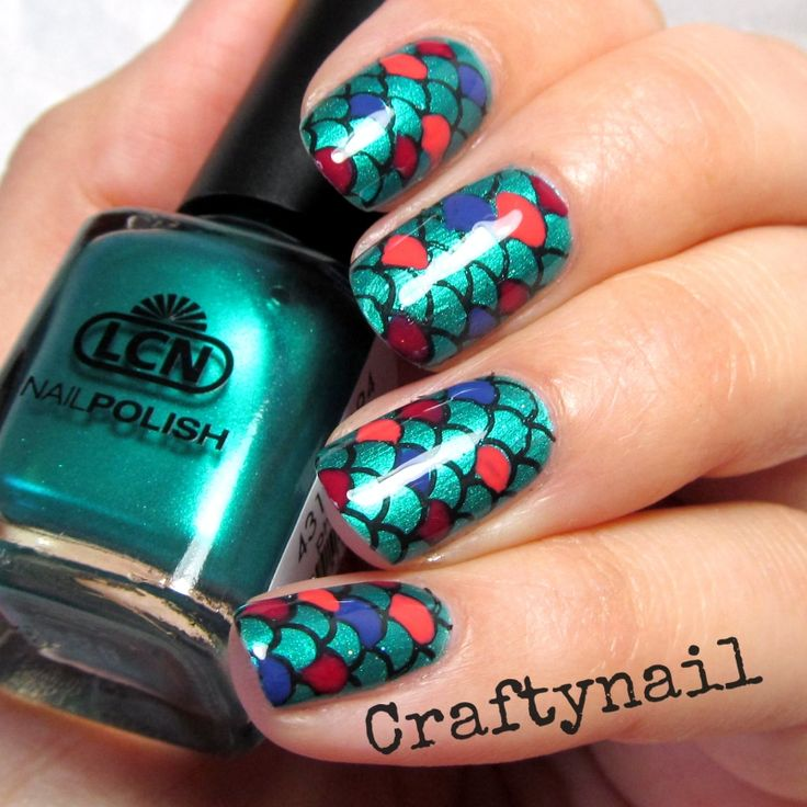 68 best wing feather fish scale nail art images on pinterest lcn phantasia teal mermaid scales nail art by craftynail prinsesfo Images