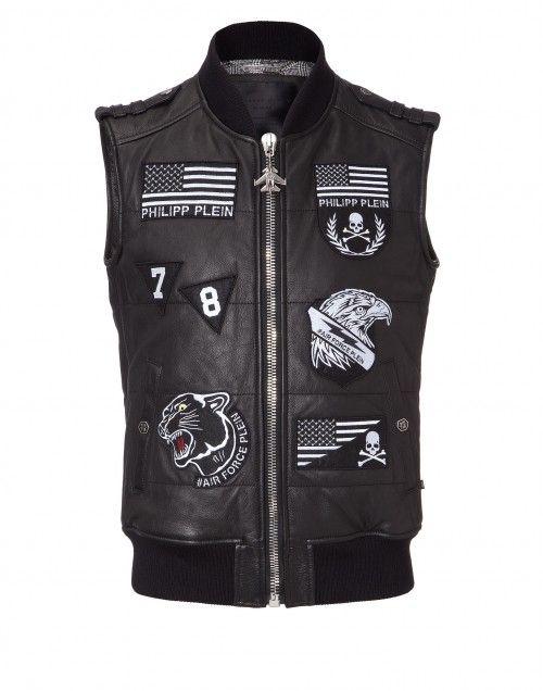 "leather vest ""gaspe"" - Jackets - Clothing - Men | Philipp Plein"