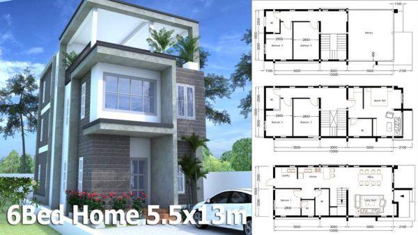 Modern Home Plan 5 5x13m With 6 Bedroom Samphoas Plan House Plans Architectural House Plans Model House Plan