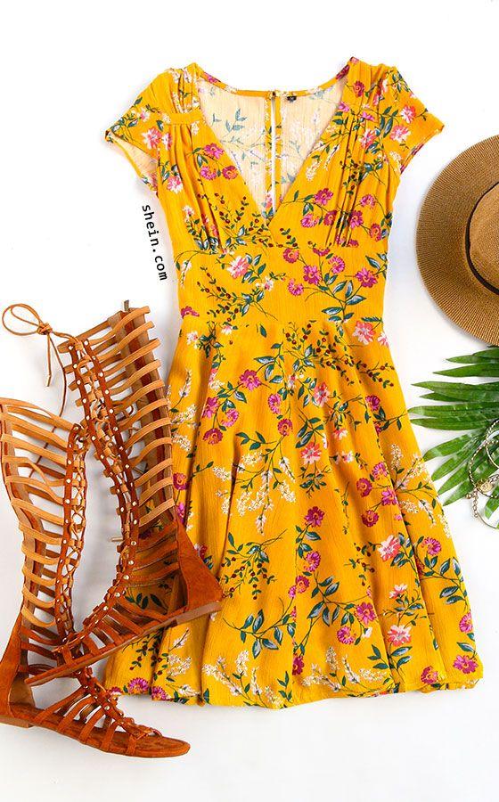 Yellow Floral V Neck Cutout Dress