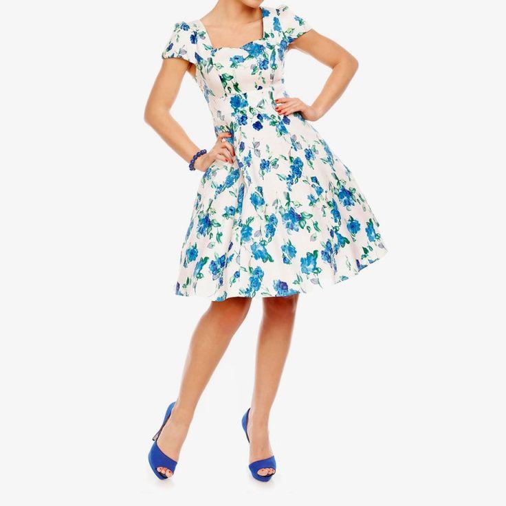 Elegante vestido floral, inspirado en los vestidos clásicos vintage swing, escote halter estilo 50 favorecedor. Falda de estilo de los años 1950, corpiño ajustado, con mangas y algodón softtouch