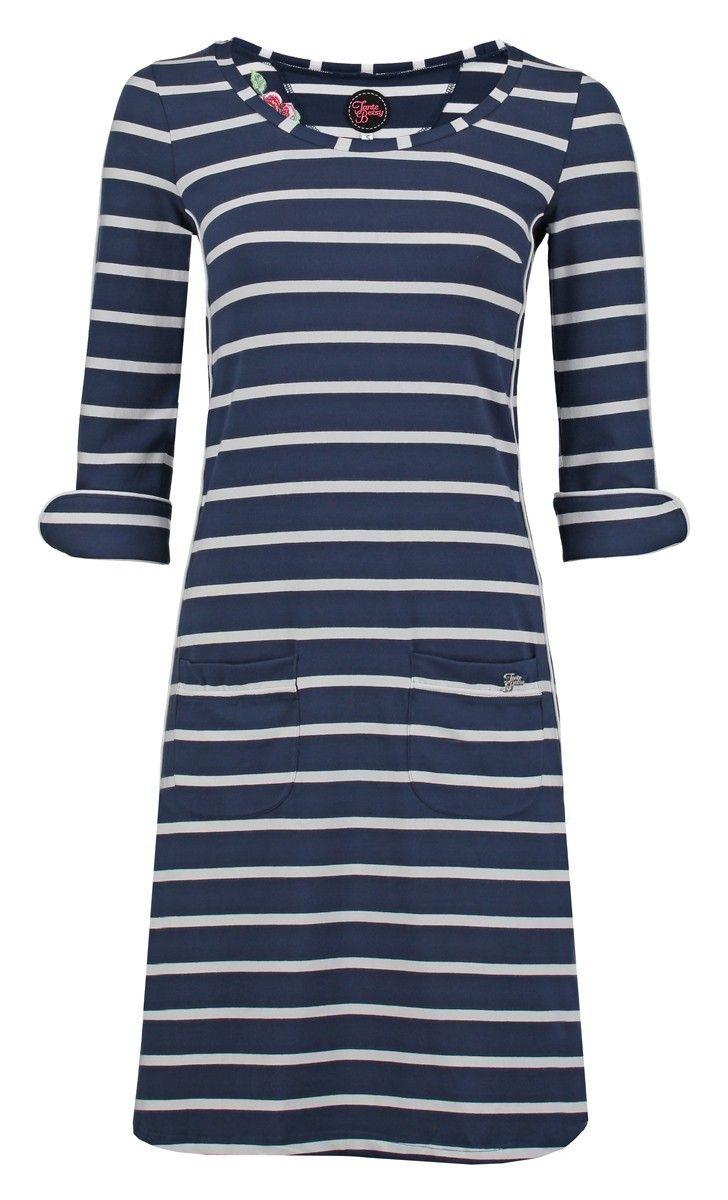 Tante Betsy Dress patsy Stripe Rose Navy blue white jurk strepen wit donker blauw