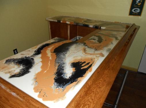 Epoxy Resin Kitchen Countertops Antique Red Cabinets Just After A Bartop Pour! | Natural ...