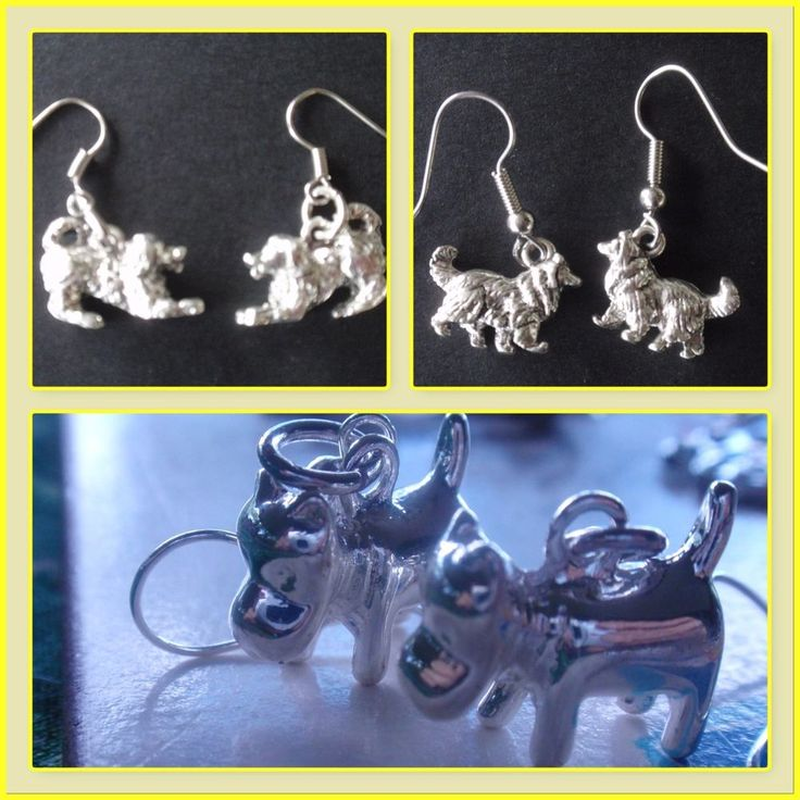 Dogs, playful pup, puppy, stylised dog, collie breed charms earrings #BoBeagleJangles