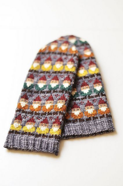 cute knitted mitts with gnome pattern