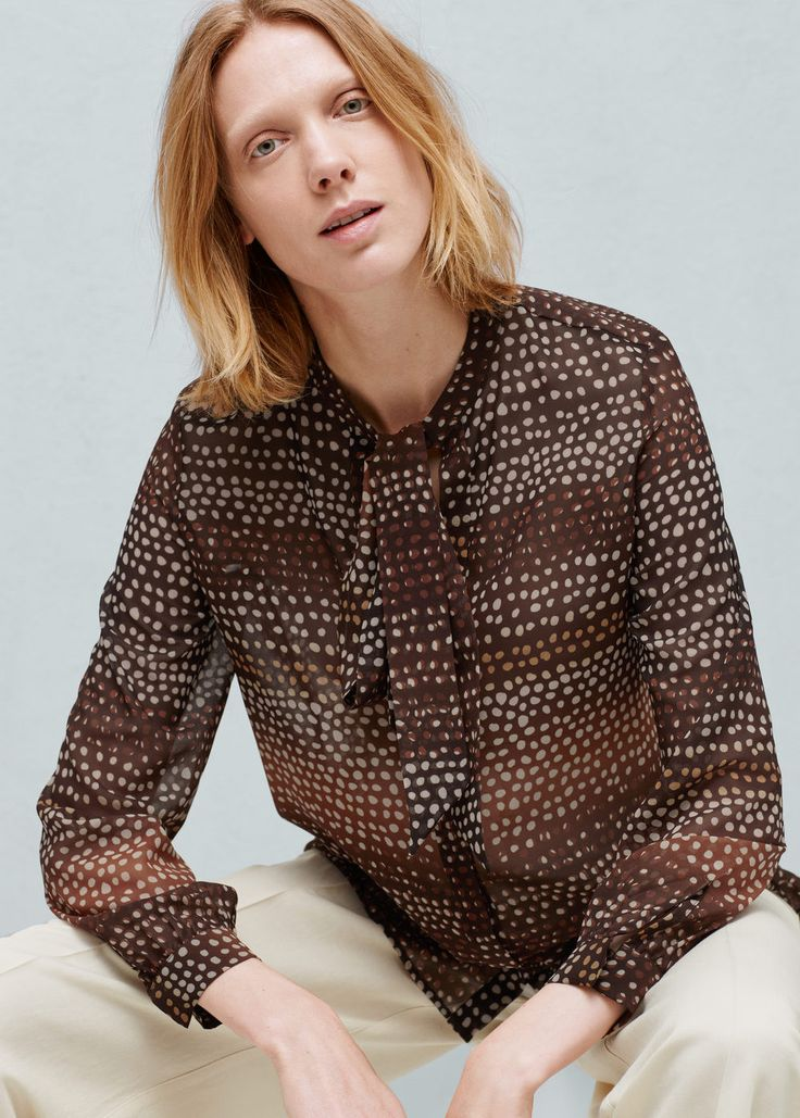Bow printed blouse - Shirts for Women | MANGO USA