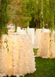 DIY:  Great idea for an outdoor wedding!  Lights are hidden by the tablecloths.