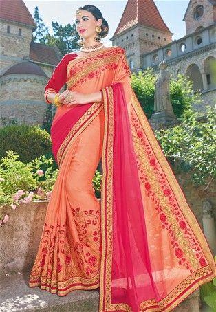 Orange,Pink Georgette Designer Saree #sale #offers #sareesonsale #sareessale #designersaree #designersari #onlinesaree #onlinesari #dress #onlineindiandress #sale#nikvik #freeshipping #usa #australia #canada #newzeland #Uk #UAE