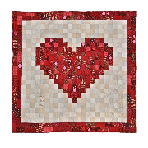 Hand-Made Patchwork Heart Quilt £300