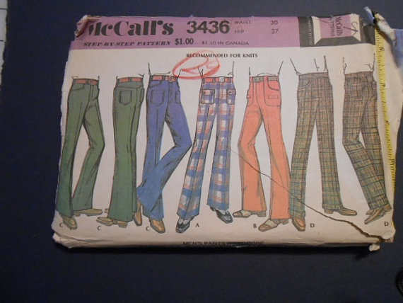 McCalls 3436  Mens leisure slacks pants straight an by MadkDesigns, $9.99