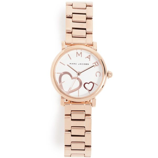 Marc Jacobs Roxy Watch ($200) ❤ liked on Polyvore featuring jewelry, watches, rose gold, logo watches, marc jacobs watches, red gold watches, marc jacobs jewellery and heart-shaped watches