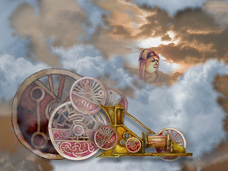 """""""Der Maschinist"""" Digitale Collage aus Wolkenfotos und Handzeichnung. Erhältlich als Digitaldrucke bei http://www.artflakes.com/de/s?search=Manfred+Schmidt"""