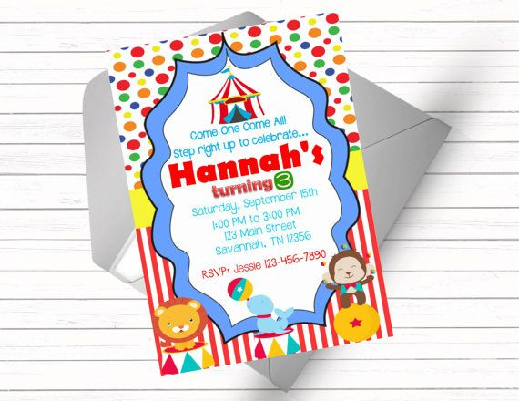 Circus Birthday Party Invitation by FarmSchoolPrints on Etsy