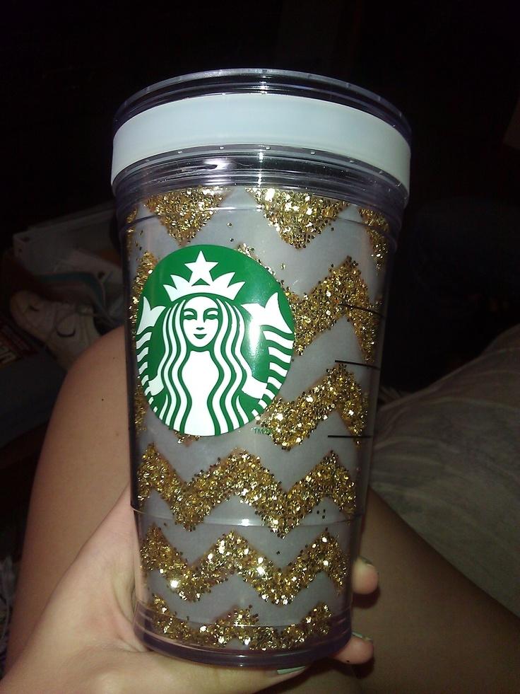 Diy Glitter Chevron Starbucks Cup You Ll Need Starbucks