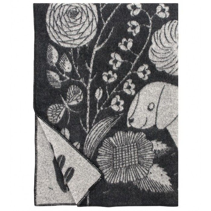 KOIRA JA KISSA Wollen Plaid 130 x 180 Zwart Grijs