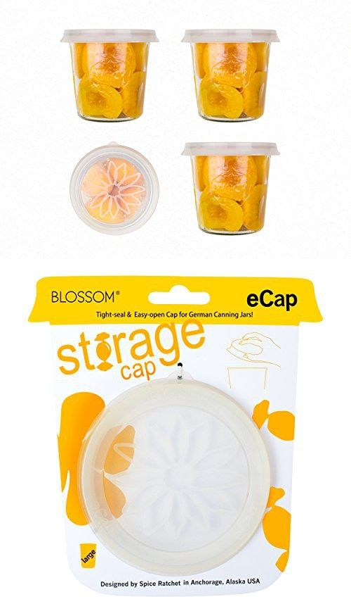 """Weck Canning Jar Cap, Storage Lid Cap, Silicone, For Large Weck Jars, Fits on 3 7/8"""" Diameter, Clear, (2)"""