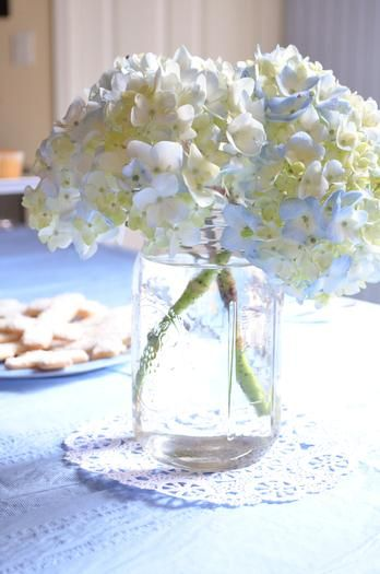 Blue & White First Communion Centerpieces.