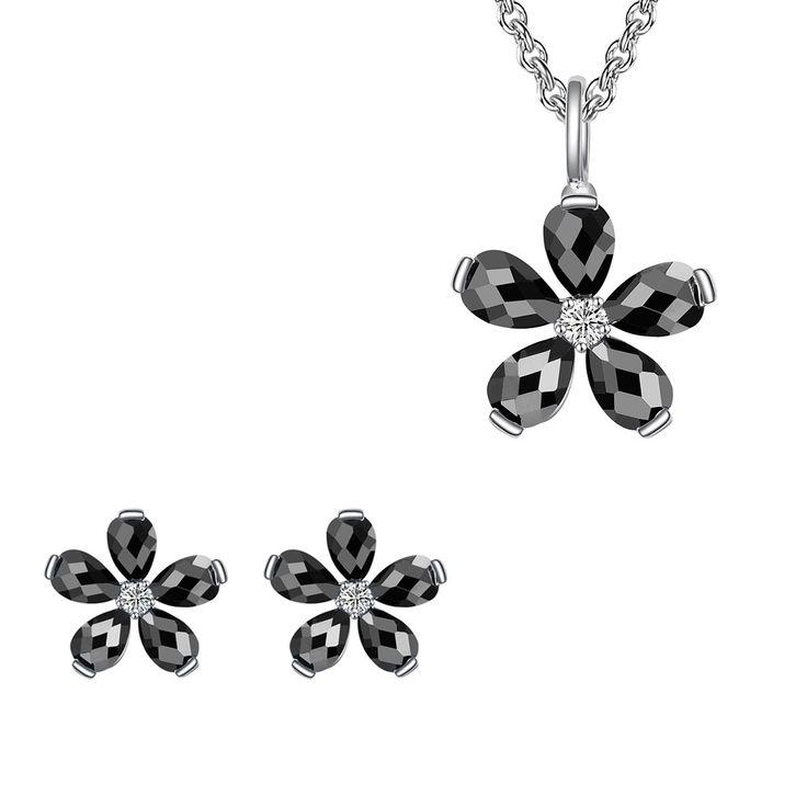Set Nahla Jewels Floare Rară de Noapte (cercei, colier, pandantiv)